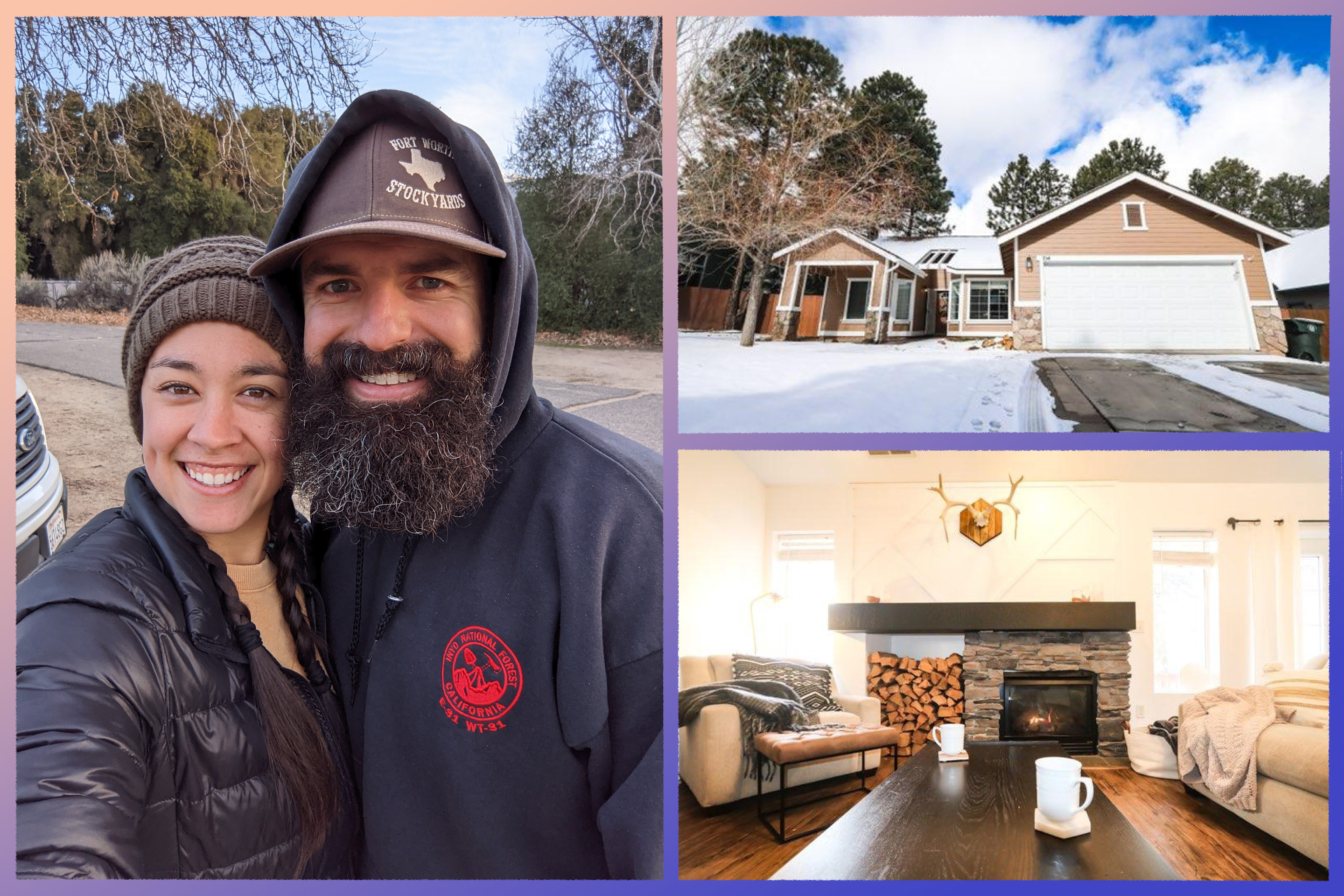 Photo of Scott Hatch and his wife, interior and exterior of his home.