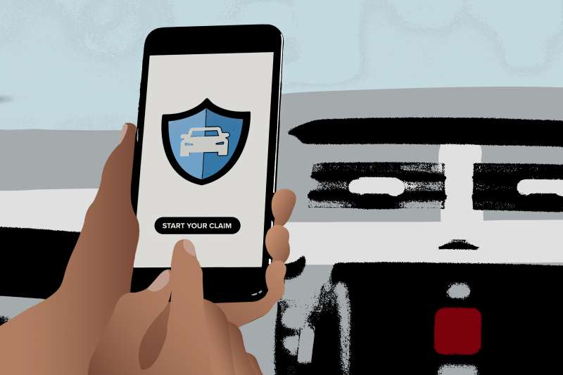 Photo Illustration of a Hand holding a phone with car insurance app filing a claim