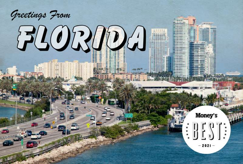 Postcard of Florida highway with the words  Greetings from Florida