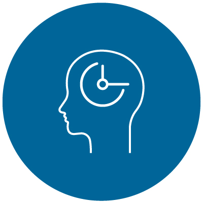 head silhouette with a clock inside icon