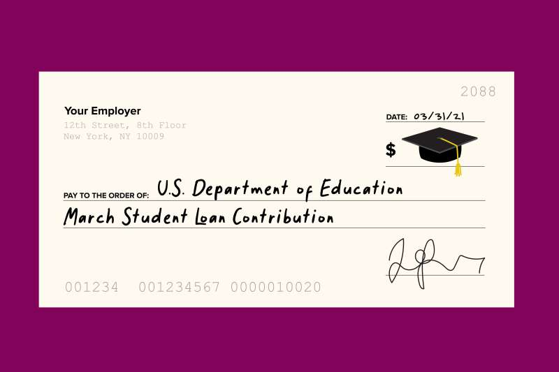 Illustration of a paycheck from your employer made out to the U.S. Department of Education for a student loan contribution.