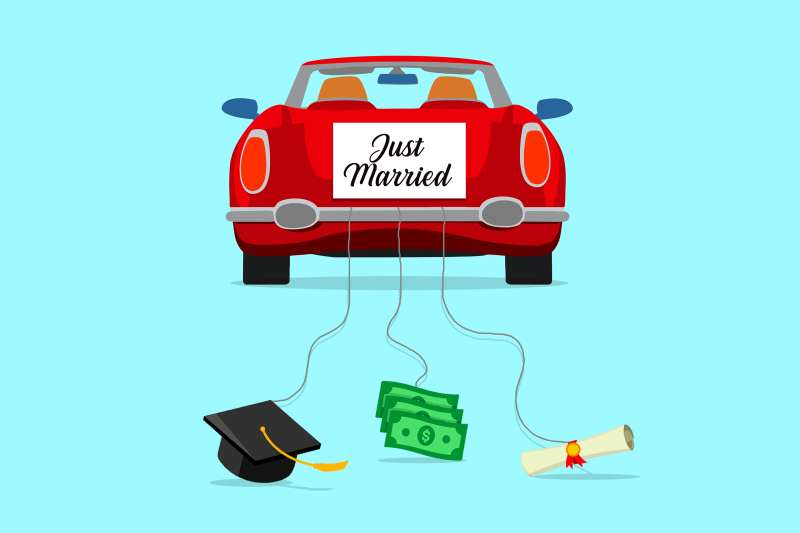 Just married drive-away car, but instead of cans, it's pulling a graduation cap, money bills, and degree.