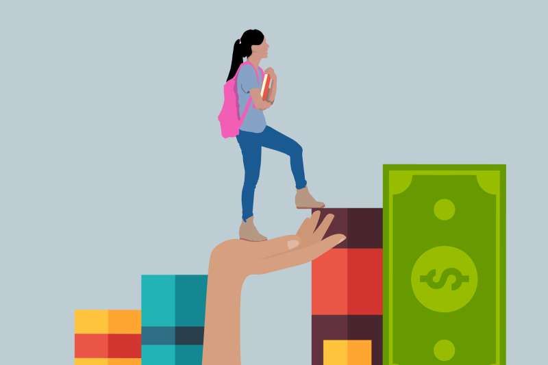 Large Hand Helping A Student Walk Up A Flight OF Stairs Made Out Of Books And A Dollar Bill