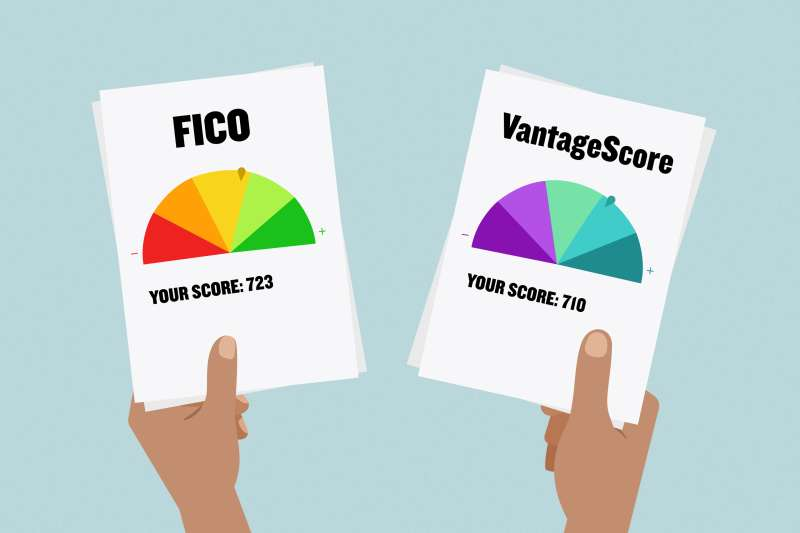 Illustration of two hands holding A FICO credit score report and a VantageScore credit report.