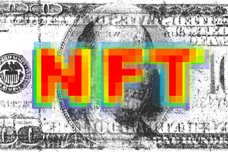 Pixelated art of a hundred dollar bill and the letters NFT
