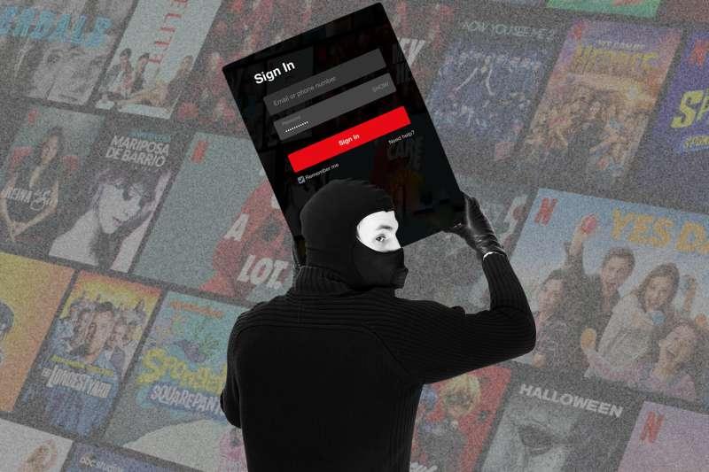 Burglar stealing Netflix Login information