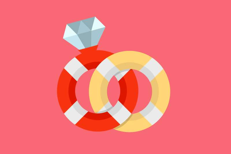 Two Life Preserver Rings Posed As Wedding Rings