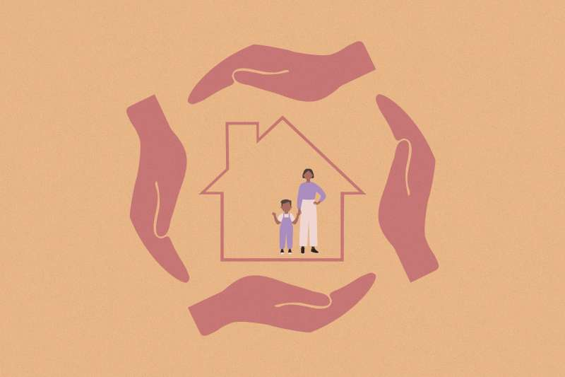 Mother and son inside an outilne of a house covered on every side by large hands