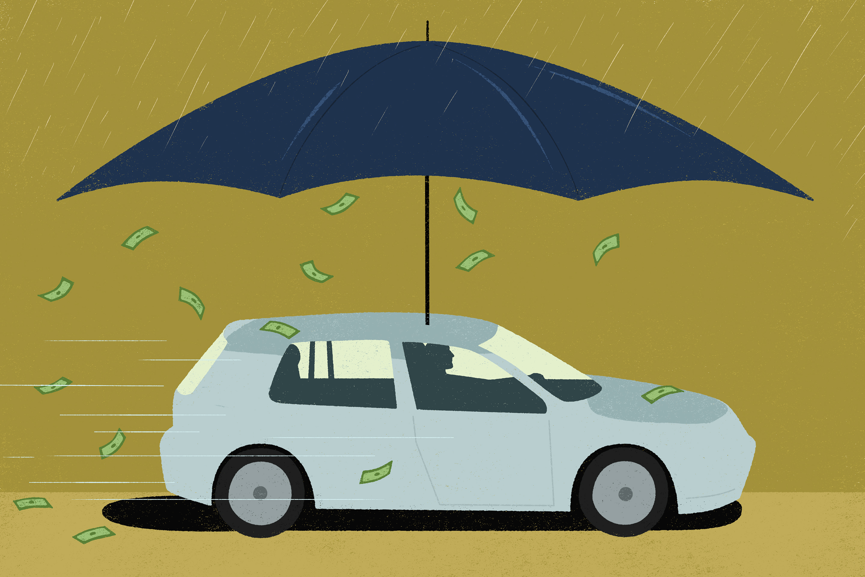 Car with an umbrella on the top, raining in money underneath.