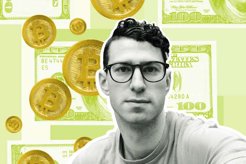 Portrait of Joshua Seymor on colored background with hundred dollar bills and bitcoins