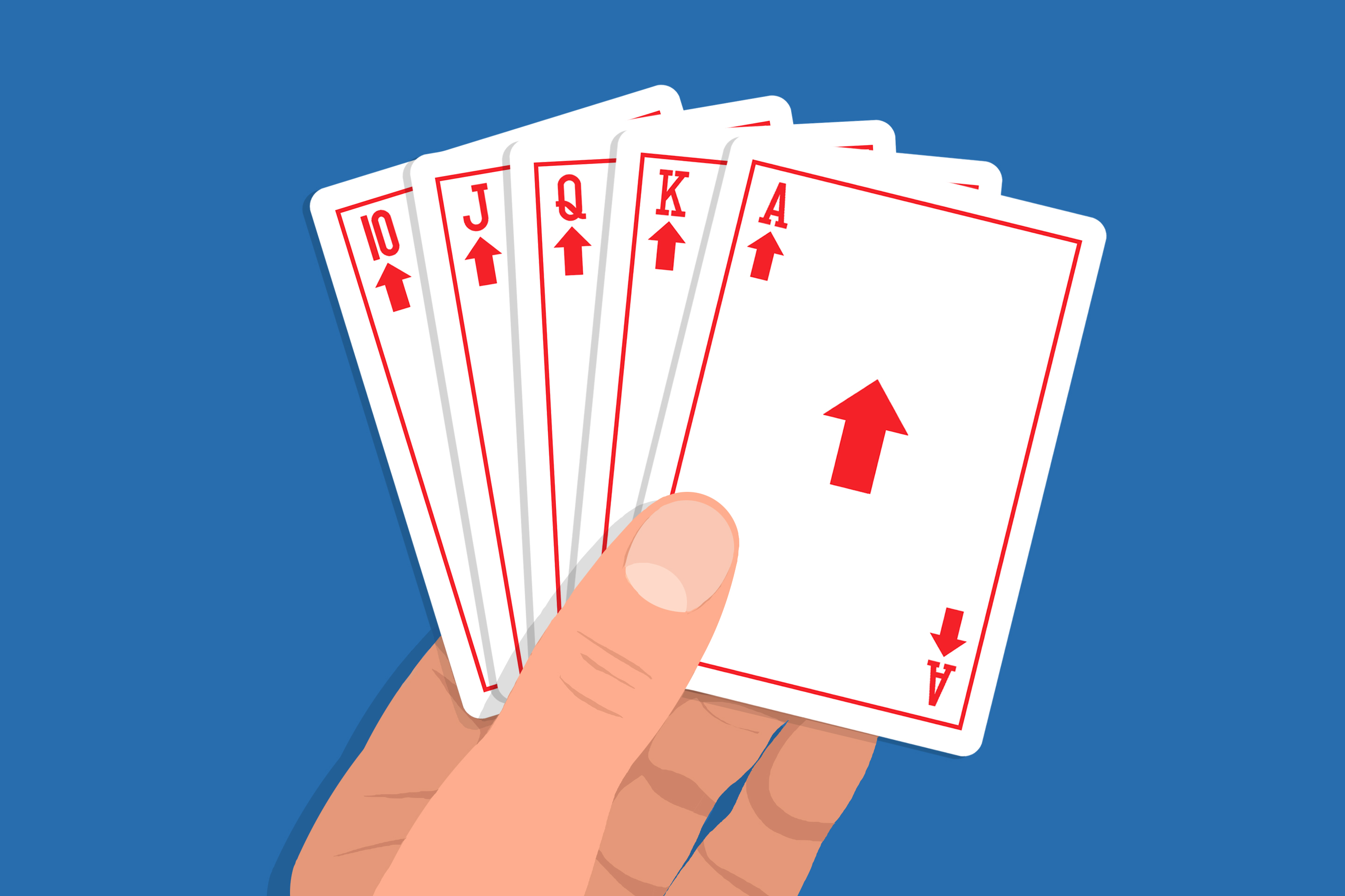 A hand of card with a straight, but instead of a proper suit, it's an arrows pointing upward.