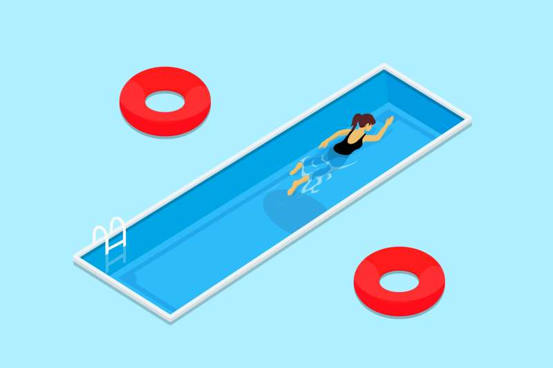 % sign is made of two circular flotation device, and a rectangular swimming pool in the middle.