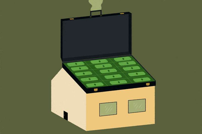 Briefcase on top of a house.