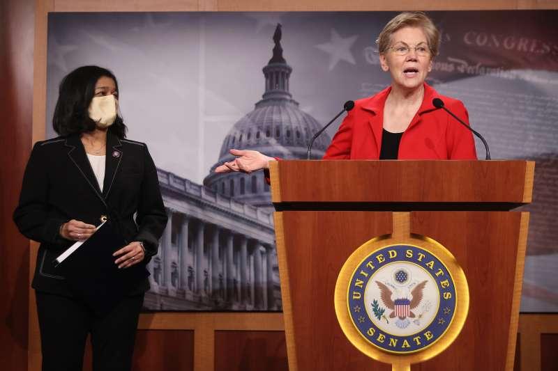 Senator Elizabeth Warren holds a news conference