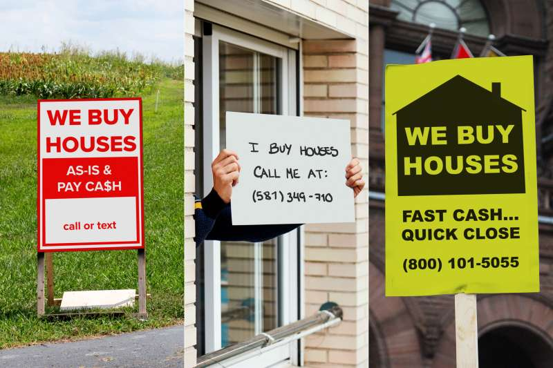 Triptych of images with we buy houses signs in different locations