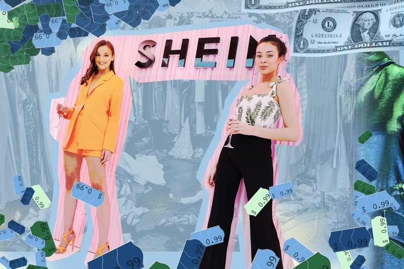 Two ladies standing in front of Shein sign, surrounded by cheap dollar store sticker and dollar bills.