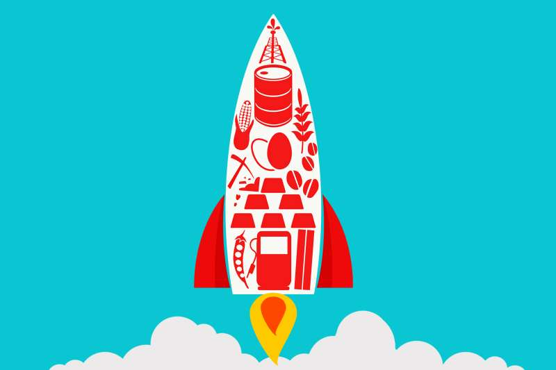 Rocket with commodities icons, such as copper, aluminum, and oil