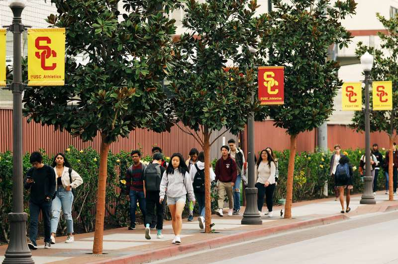Students walking on the University of Southern California campus