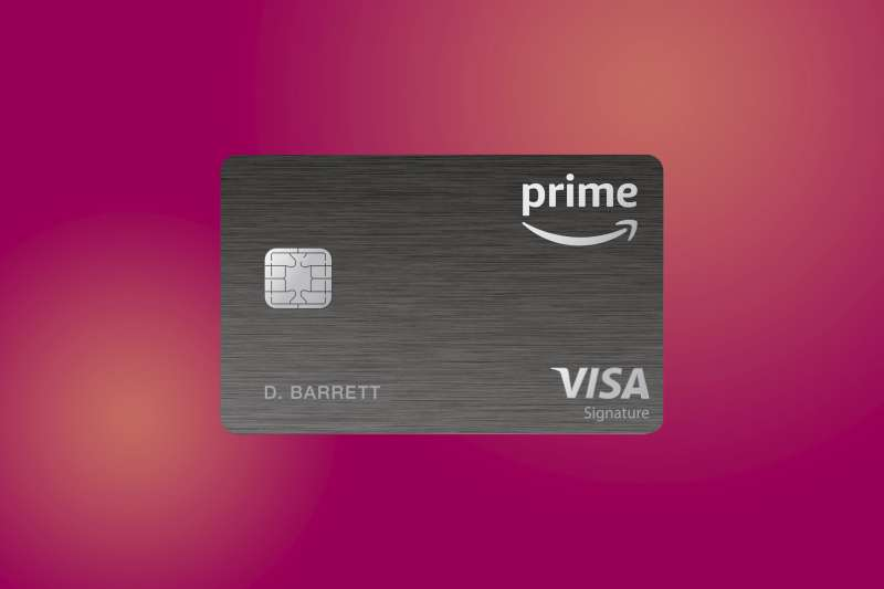 Amazon Prime Rewards Visa Credit Card on a colored background