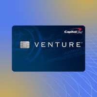 Capital One Venture Credit Card on a colored background