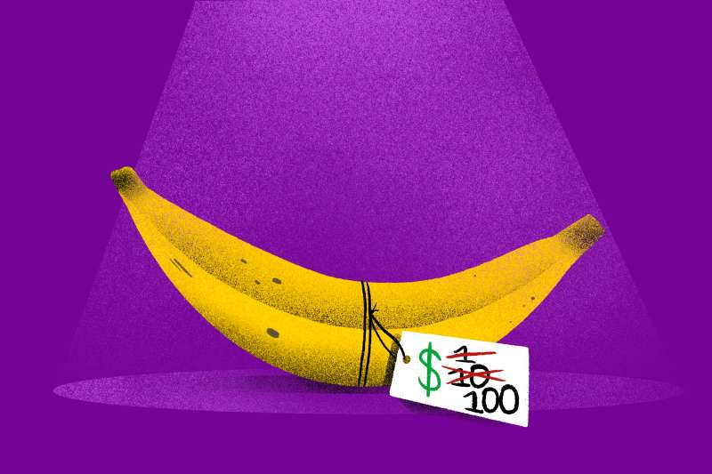 A simple banana in the spotlight with a fluctuating price tag that reads $1 then $10 then $100
