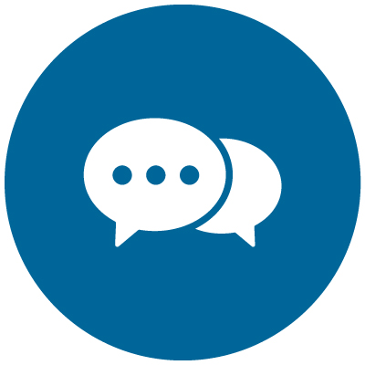 icon with speech bubble: identify why you need financial advice