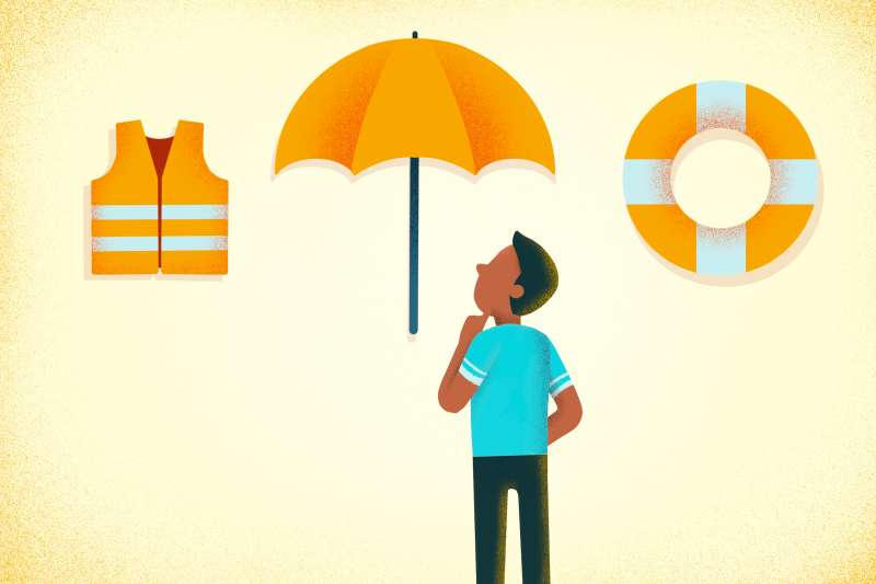Person looking at a life vest, an umbrella and a life saver. A metaphor for deciding which type of life insurance you should pick