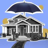 Photo Collage of a home with an umbrella over the roof