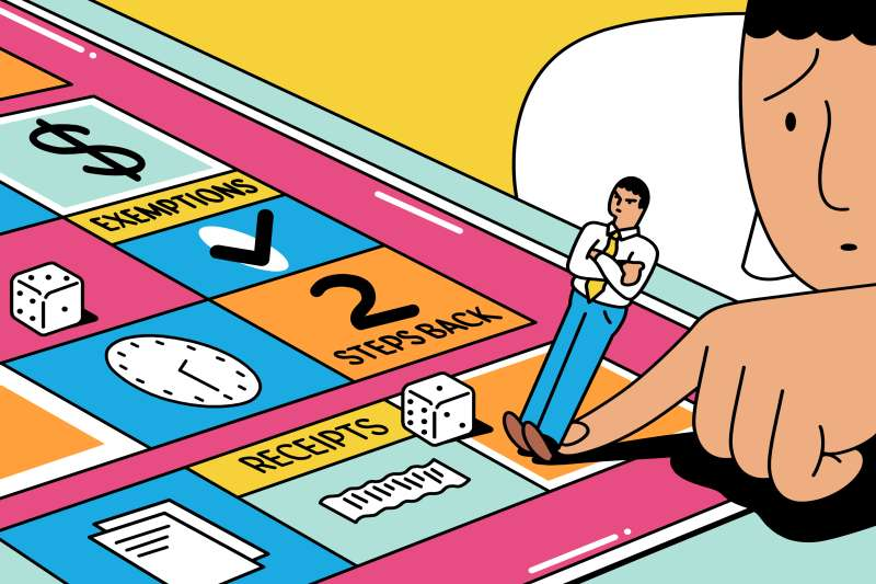 Accountant playing a  doing taxes  board game, his game piece is a small version of him with his heels dug in, not wanting to play.