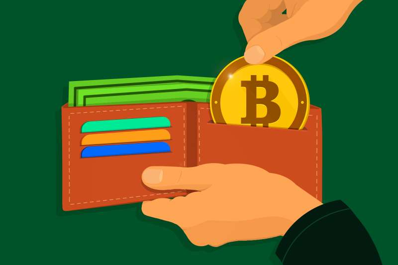 A person is pulling out bitcoin from the wallet, looking to spend it.