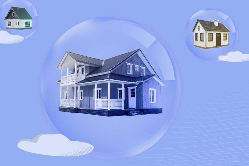 Three houses inside bubbles floating in the sky