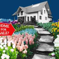 A  Home for sale sign  with a question mark and a path of flowers that leads to a home.