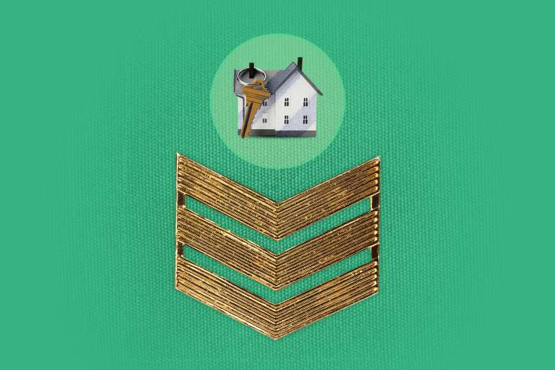 House Inside A Circle With A Large Key Above A Military Badge