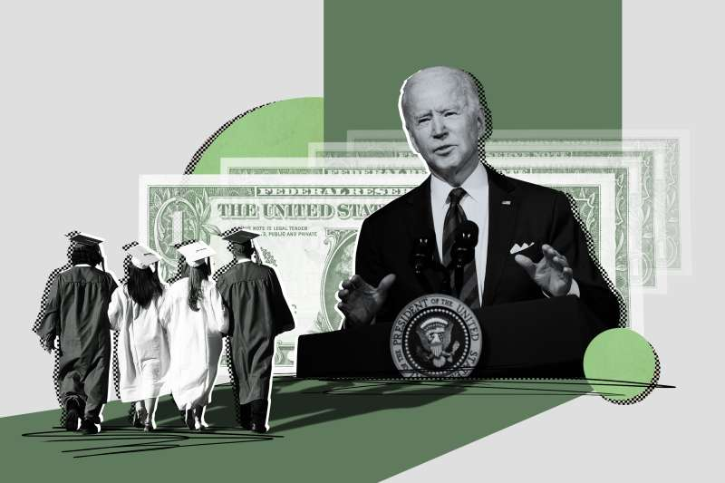 Collage of a group of graduates walking and President Joe Biden in the background with multiple one dollar bills fading away