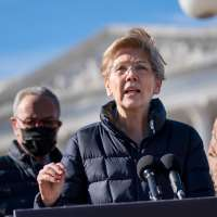 Sen. Elizabeth Warren speaks during a press conference about student debt