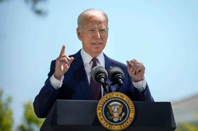 President Joe Biden speaks on the North Lawn of the White House