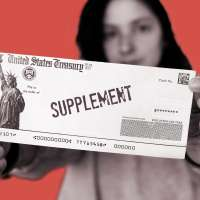Woman holding a stimulus check with the word supplement printed on it