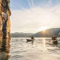 Couple Kayaking on Summersville Lake in West Virginia