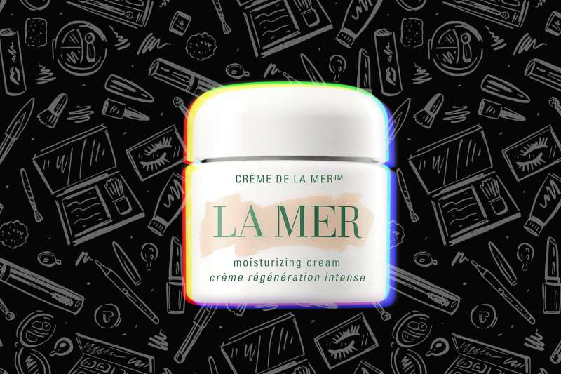 La Mer Moisturizing Cream over a background with cosmetics product drawings