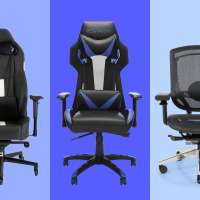 Three gaming chairs on a colored background