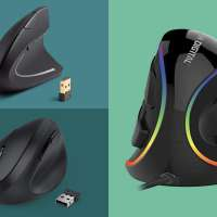 Three vertical mouse on a colored background