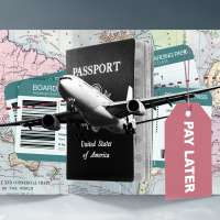 Photo collage of a plane over a map, passport and two boarding passes with a tag that says  Pay Later