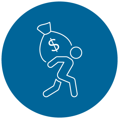 Person icon carries sack with dollar sign