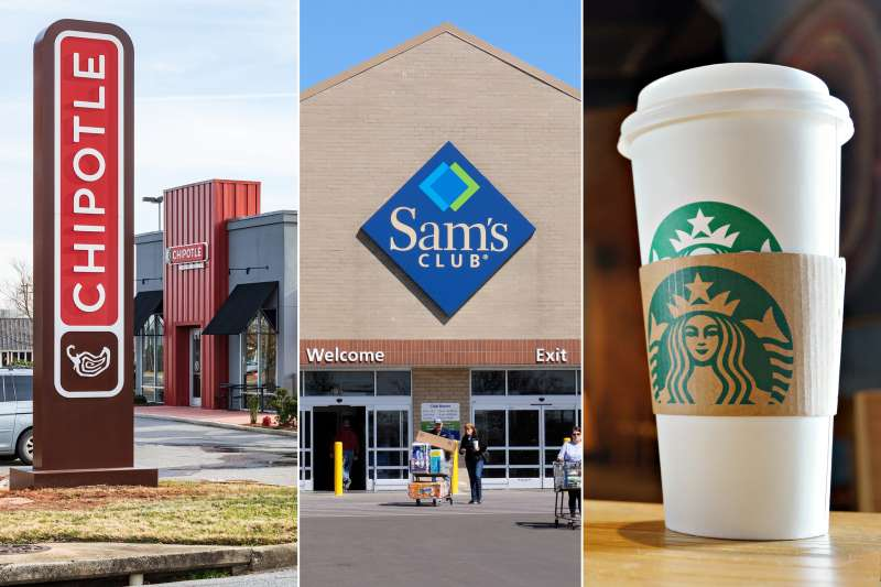 Triptych of a Chipotle Mexican Grill, Sam's Club store and a Starbucks coffee cup