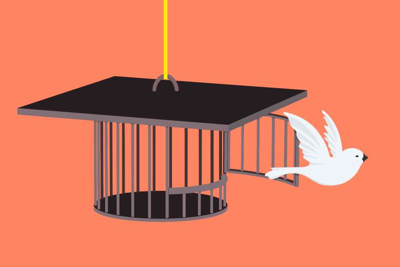 Grad cap-shaped cage and a bird that has been freed from burden of debt