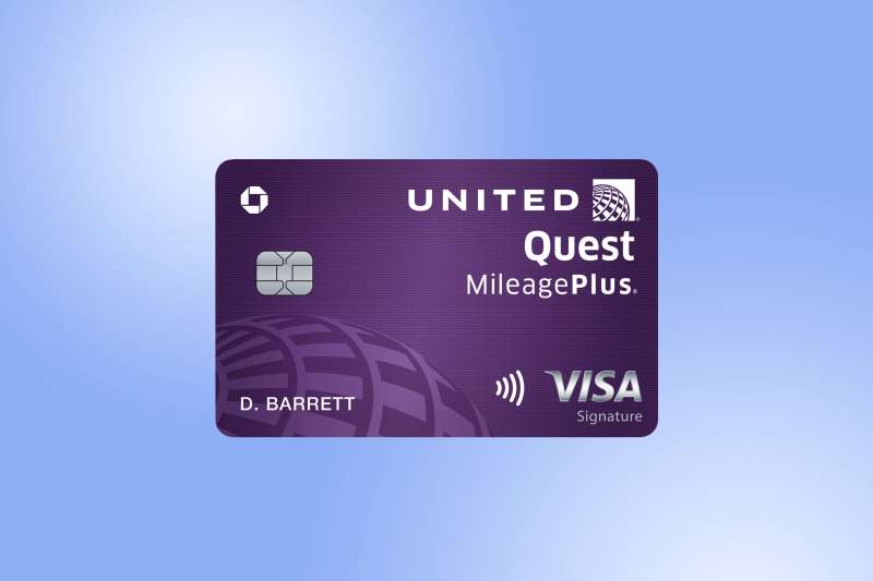 United Quest Credit Card by Chase on a colored background