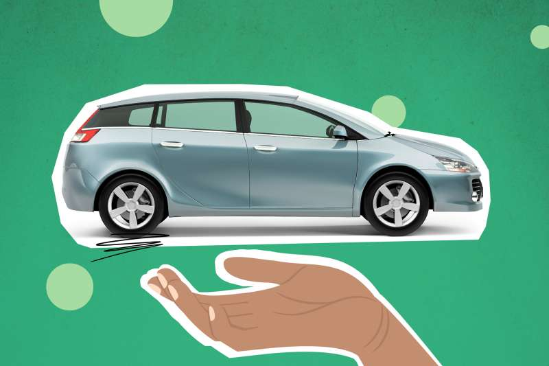 Photo Collage of a car on top of a hand with a colored background