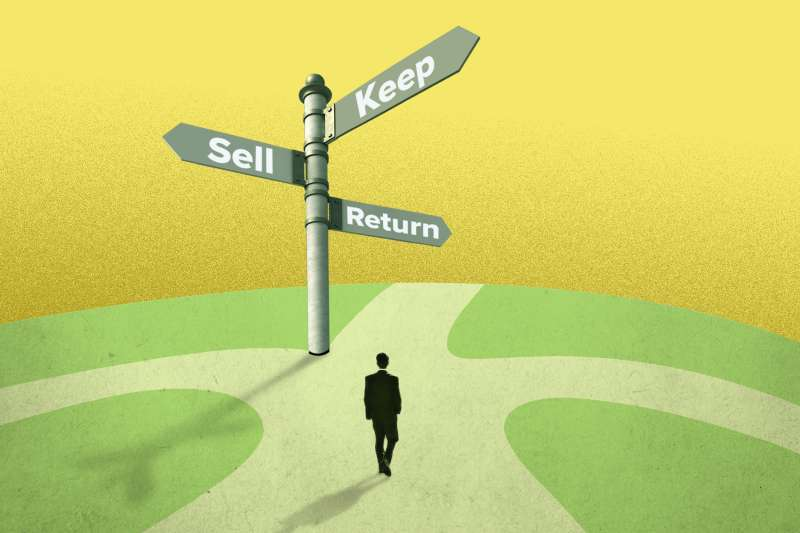 Man deciding between three paths: to keep, sell or return his life insurance policy.