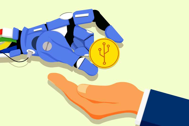 A robot hand is presenting an investor with crypto coin.
