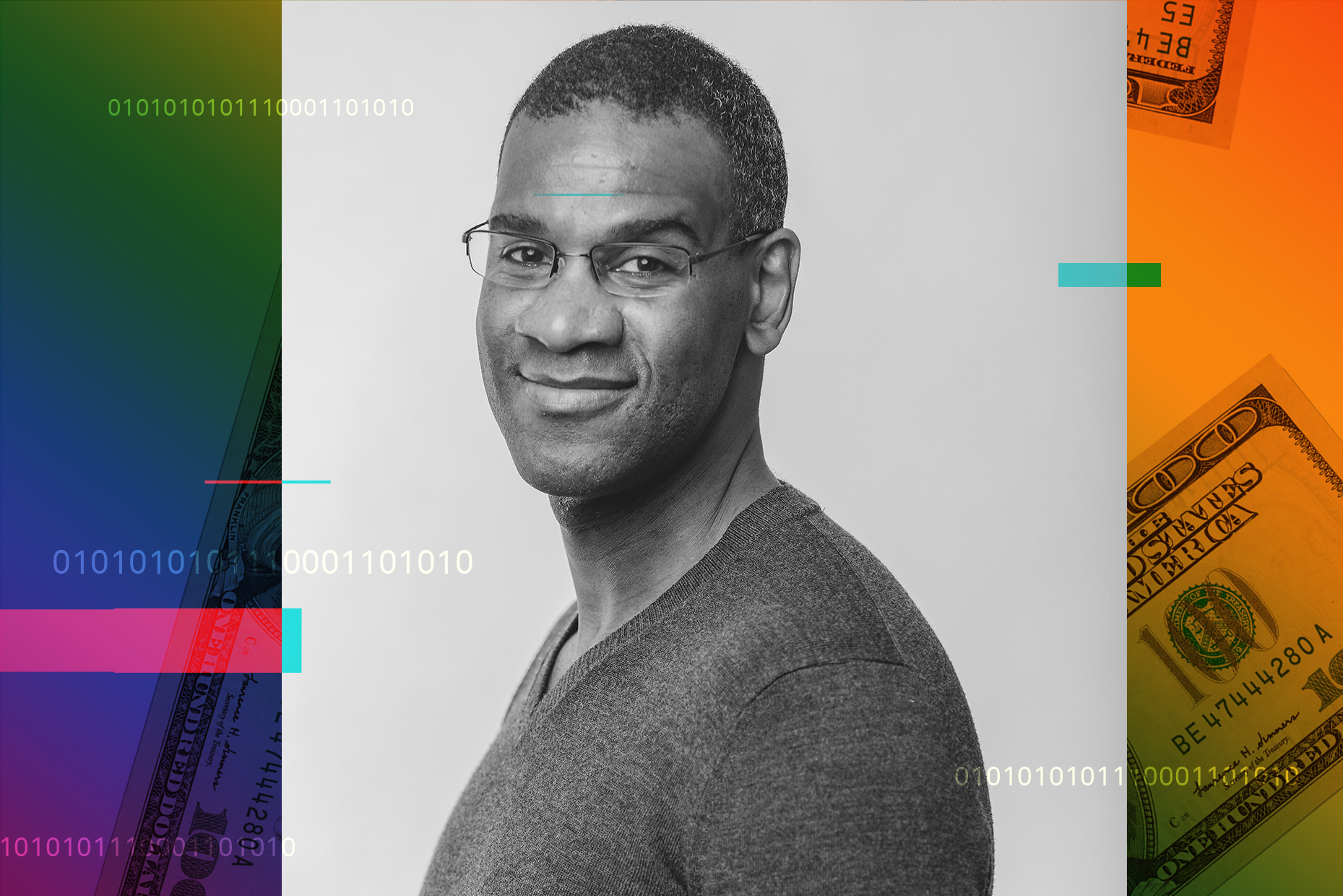 Photograph of Brian Thompson over a rainbow colored background and hundred dollar bills
